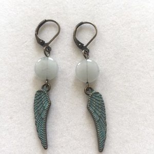 Amazonite with Patina Wings earrings